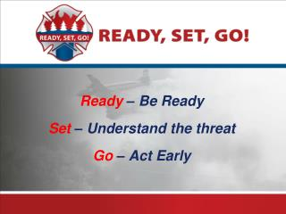 Ready  – Be Ready Set  – Understand the threat Go  – Act Early