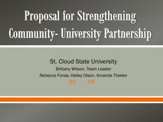 Proposal for Strengthening Community- University Partnership