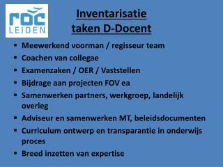 Inventarisatie taken D-Docent