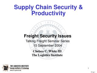 Supply Chain Security & Productivity