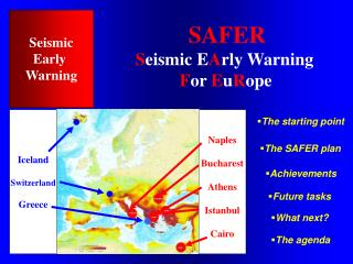 SAFER S eismic E A rly Warning F or  E u R ope