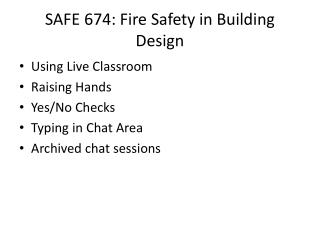 SAFE 674: Fire Safety in Building Design