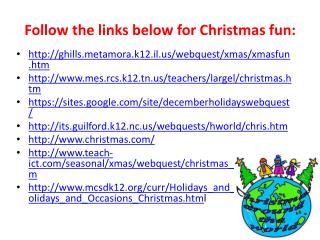 Follow the links below for Christmas fun: