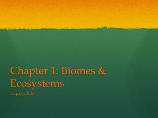 Chapter 1: Biomes & Ecosystems