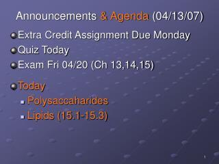 Announcements & Agenda (04/13/07)