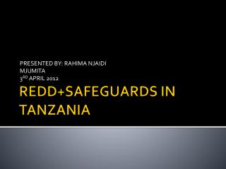 REDD+SAFEGUARDS IN TANZANIA