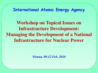 International Atomic Energy Agency  Workshop on Topical Issues on Infrastructure Development: