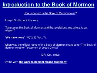 Introduction to the Book of Mormon
