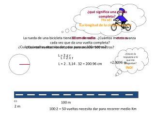 La rueda de una bicicleta tiene 32 cm de radio. ¿Cuántos metros avanza