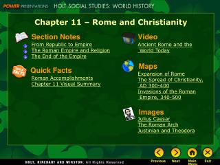 Chapter 11 � Rome and Christianity