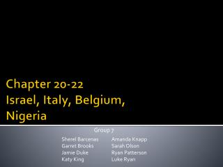 Chapter 20-22 Israel, Italy, Belgium, Nigeria