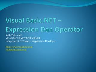 Visual Basic.NET – Expression  Dan Operator