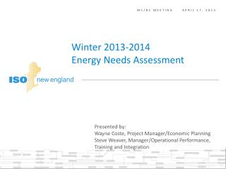 Winter 2013-2014  Energy Needs Assessment