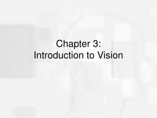 Chapter 3:  Introduction to Vision