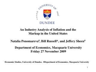 Department of Economics, Macquarie University Friday 27 November 2009