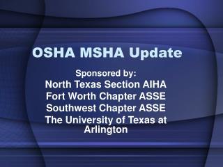 OSHA MSHA Update