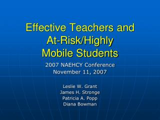Effective Teachers and  At-Risk