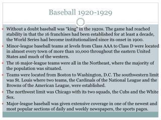 Baseball  1920-1929