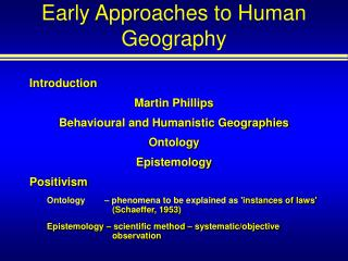 Early Approaches to Human Geography