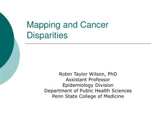 Mapping and Cancer Disparities