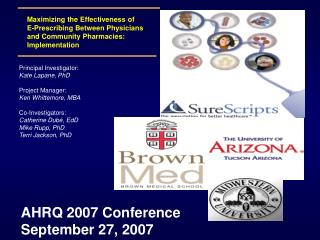 AHRQ 2007 Conference  September 27, 2007