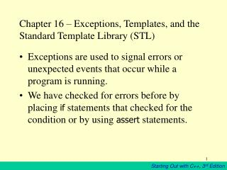 Chapter 16   Exceptions, Templates, and the Standard Template Library STL