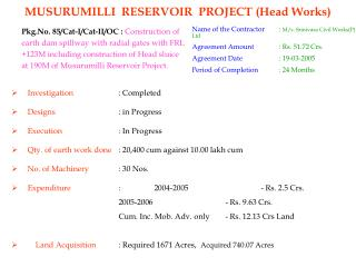 MUSURUMILLI  RESERVOIR  PROJECT (Head Works)