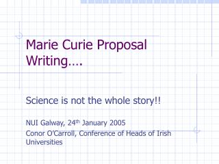 Marie Curie Proposal Writing .