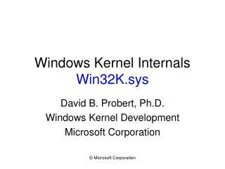 Windows Kernel Internals Win32K.sys