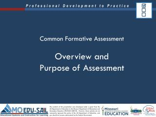 Overview and  Purpose of Assessment