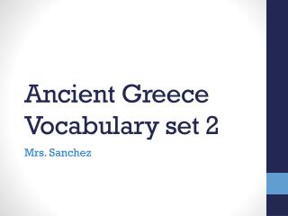 Ancient Greece Vocabulary set 2