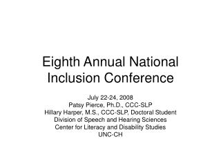 Eighth Annual National Inclusion Conference