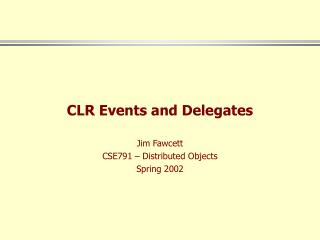CLR Events and Delegates