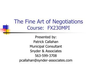 The Fine Art of Negotiations Course:  FX230MPI