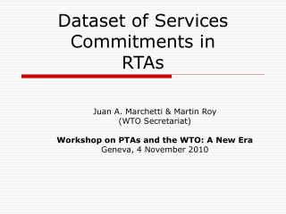 Dataset of Services Commitments in  RTAs