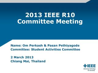 2013 IEEE R10 Committee Meeting