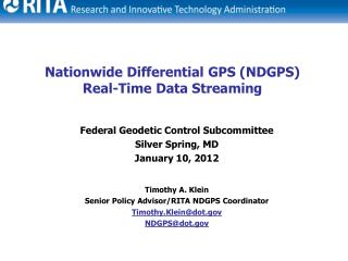 Nationwide  Differential  GPS (NDGPS) Real-Time Data Streaming