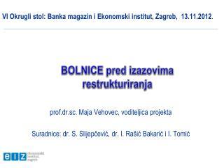 VI Okrugli stol: Banka magazin i Ekonomski institut, Zagreb,  13.11.2012 .