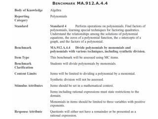 MA.912.A.4.4 : Divide polynomials by monomials.