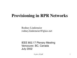 Provisioning in RPR Networks