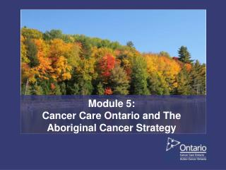 Module 5:  Cancer Care Ontario and The Aboriginal Cancer Strategy