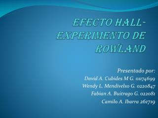 Efecto Hall-Experimento de Rowland