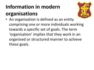 Information in modern organisations