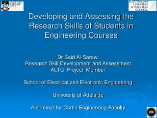 Developing and Assessing the Research Skills of Students in Engineering Courses