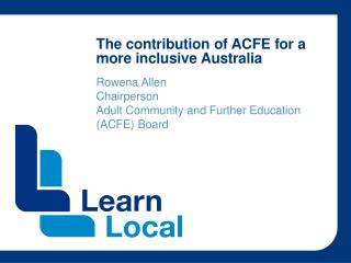 The contribution of ACFE for a more inclusive Australia