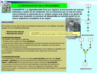 LA REPRODUCCIÓ DELS ORGANISMES