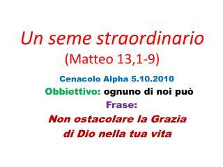 Un seme straordinario  (Matteo 13,1-9)