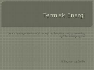 Termisk energi
