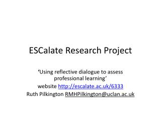 ESCalate  Research Project