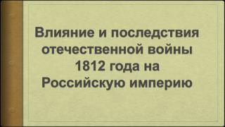 Влияние и последствия отечественной войны 1812 года  на Российскую империю